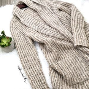loft • oatmeal chunky knit shawl collar sweater